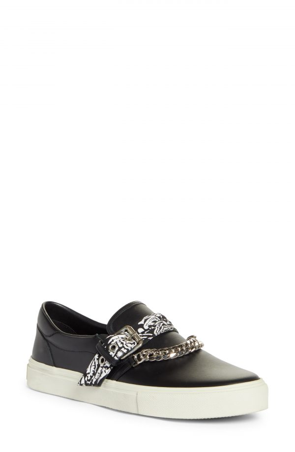 Men's Amiri Bandana Chain Slip-On Sneaker, Size 8US - Black