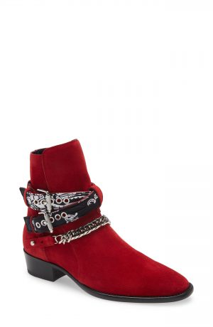 Men's Amiri Bandana Strap Ankle Boot, Size 8US - Red
