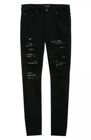 Men's Amiri Bandana Thrasher Ripped Skinny Jeans, Size 30 - Black