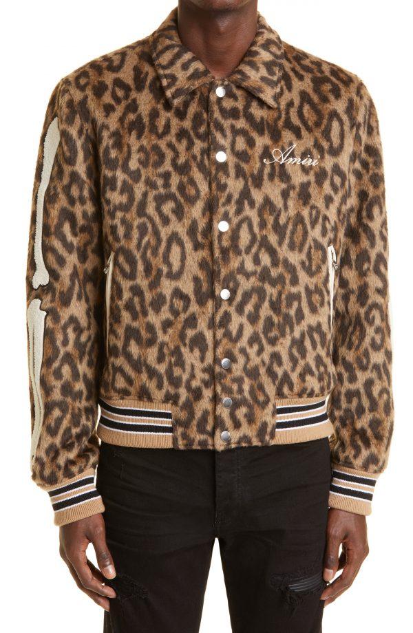 Men's Amiri Bones Wool Blend Varsity Jacket, Size 36 US - Brown