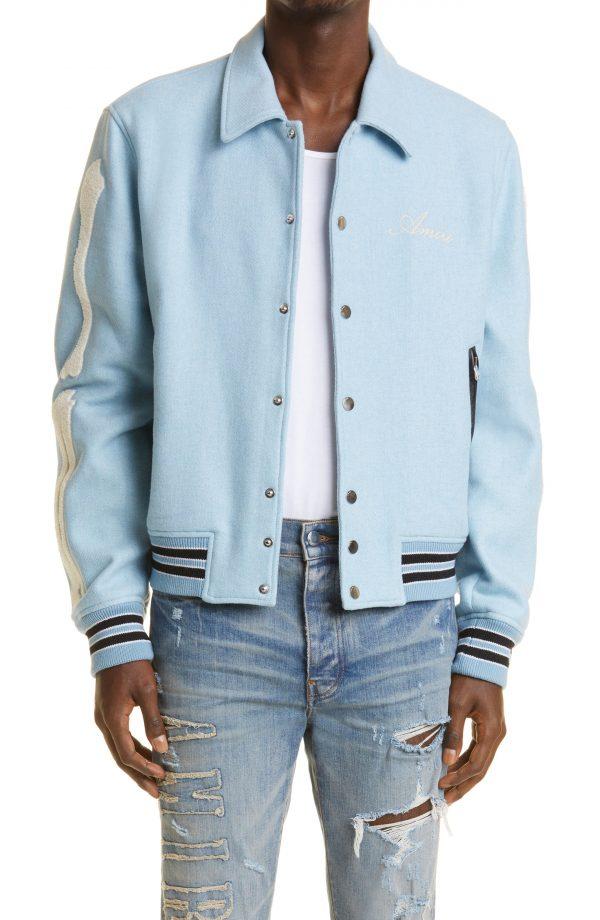 Men's Amiri Bones Wool Blend Varsity Jacket, Size 38 US - Blue