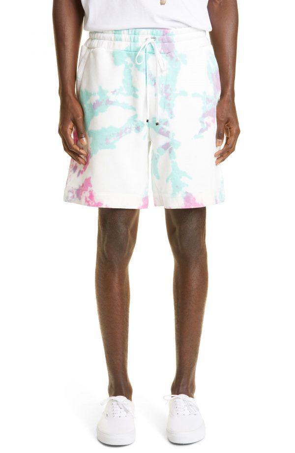 Men's Amiri Core Logo Tie Dye Cotton Sweat Shorts, Size Small - White