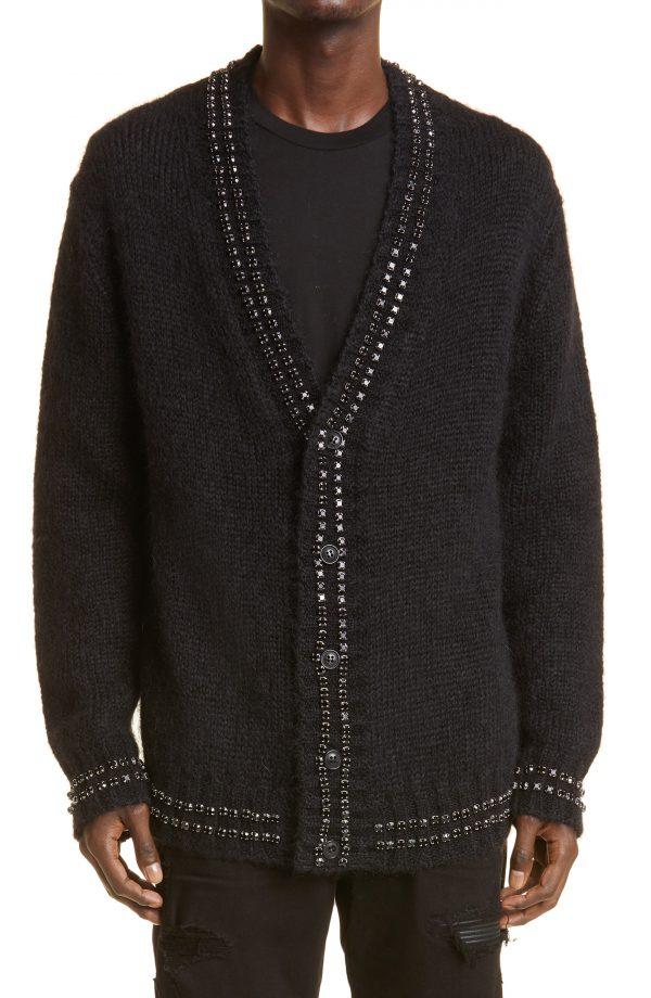Men's Amiri Crystal Embellished Cashmere Cardigan, Size Small - Black