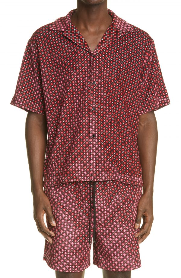 Men's Amiri Diamond Pattern Short Sleeve Button-Up Velour Shirt, Size Small - Pink