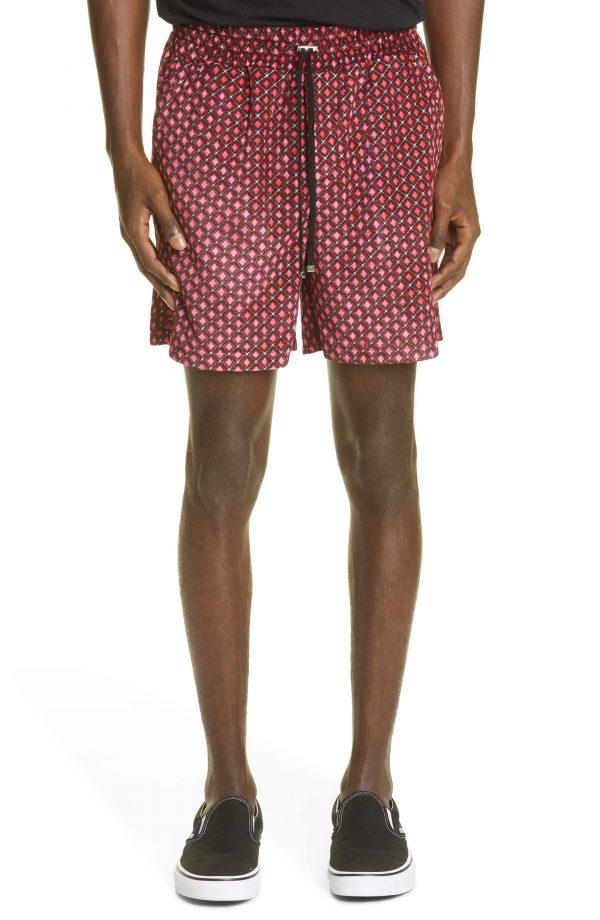 Men's Amiri Diamond Pattern Velour Drawstring Shorts, Size Small - Pink