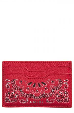 Men's Amiri Embroidered Leather Card Case - Red