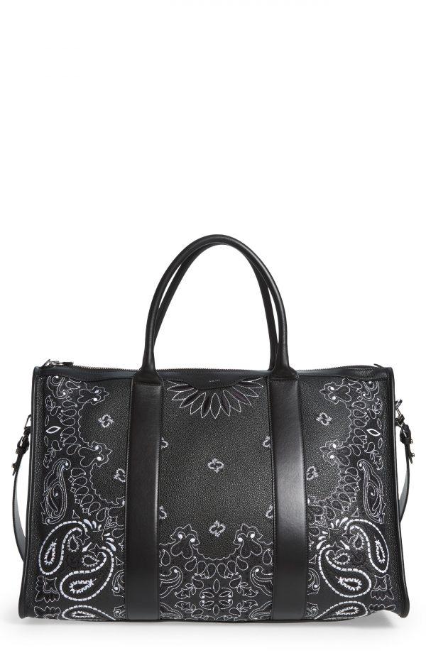 Men's Amiri Embroidered Leather Weekend Bag - Black
