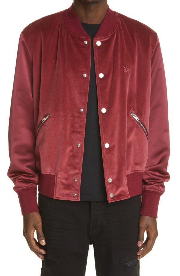 Men's Amiri Embroidered Logo Velveteen & Satin Bomber Jacket, Size 36 US - Burgundy