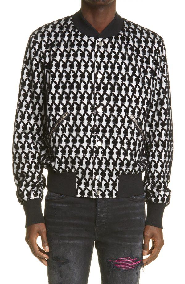 Men's Amiri Flocked Playboy Bunny Logo Bomber Jacket, Size 36 US - Black