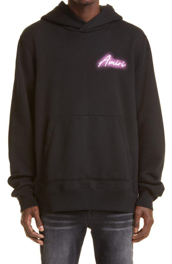 Men's Amiri Hardcore Logo Graphic Cotton Hoodie, Size Small - Black