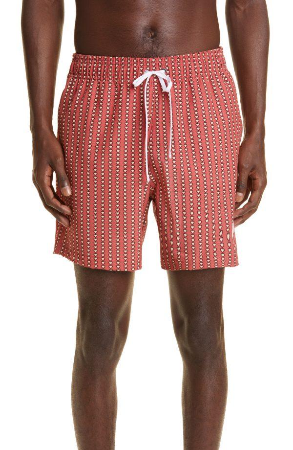 Men's Amiri Heart Print Swim Trunks, Size Small - Red