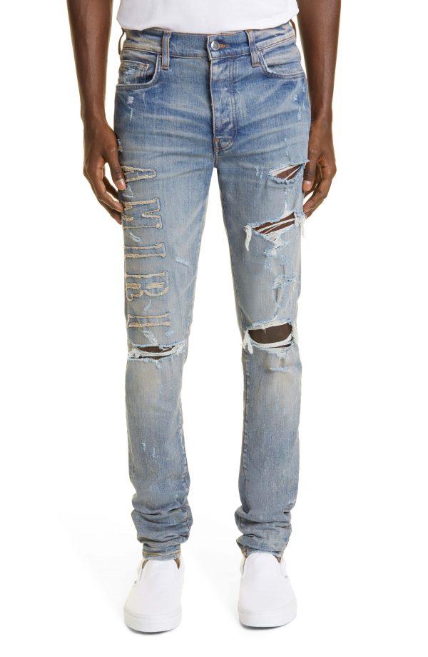 Men's Amiri Logo Applique Ripped Jeans, Size 29 - Blue