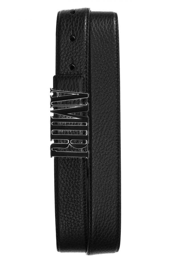 Men's Amiri Logo Buckle Leather Belt, Size 80 - Black