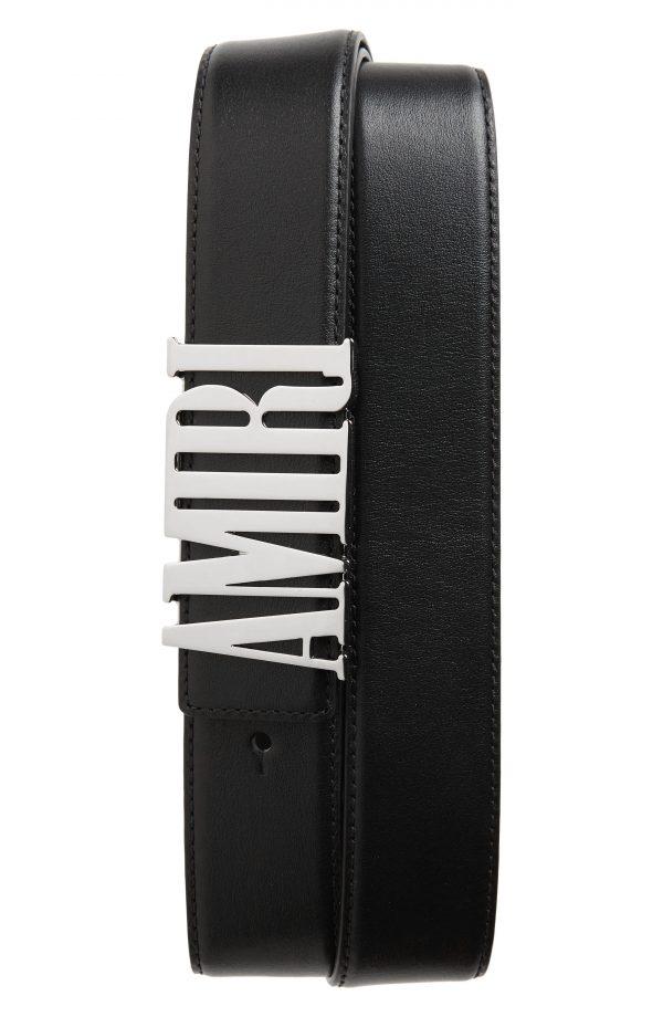 Men's Amiri Logo Buckle Leather Belt, Size 90 EU - Black