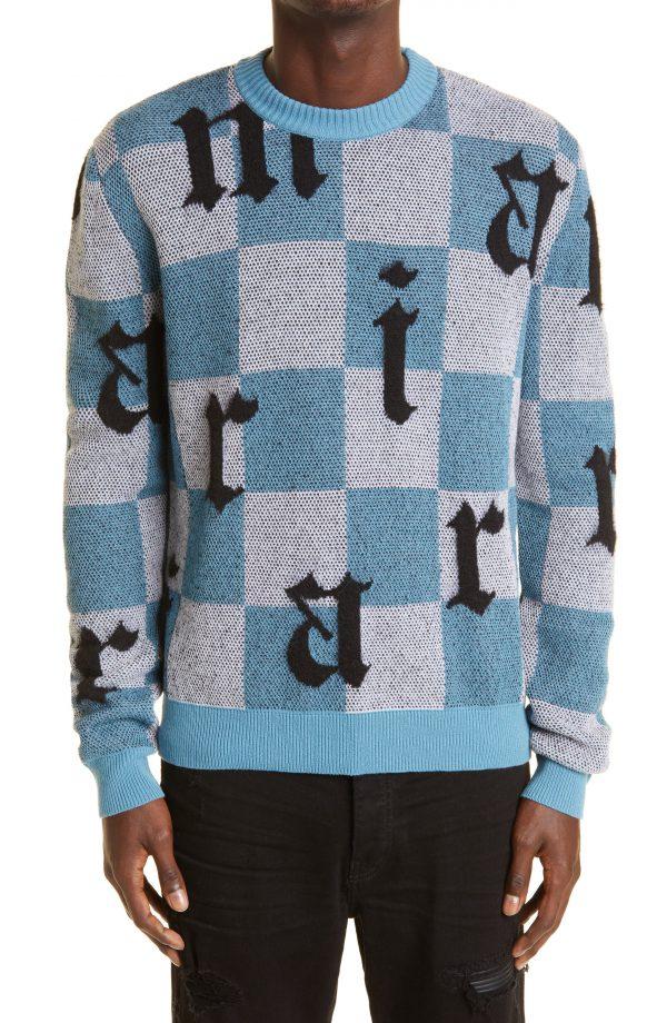 Men's Amiri Logo Check Jacquard Cashmere Sweater, Size Small - Blue