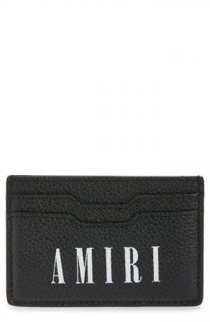 Men's Amiri Logo Leather Card Holder - Black