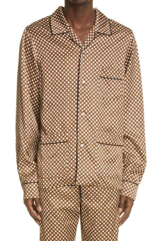 Men's Amiri Logo Poker Chip Pajama Long Sleeve Button-Up Shirt, Size Small - Brown