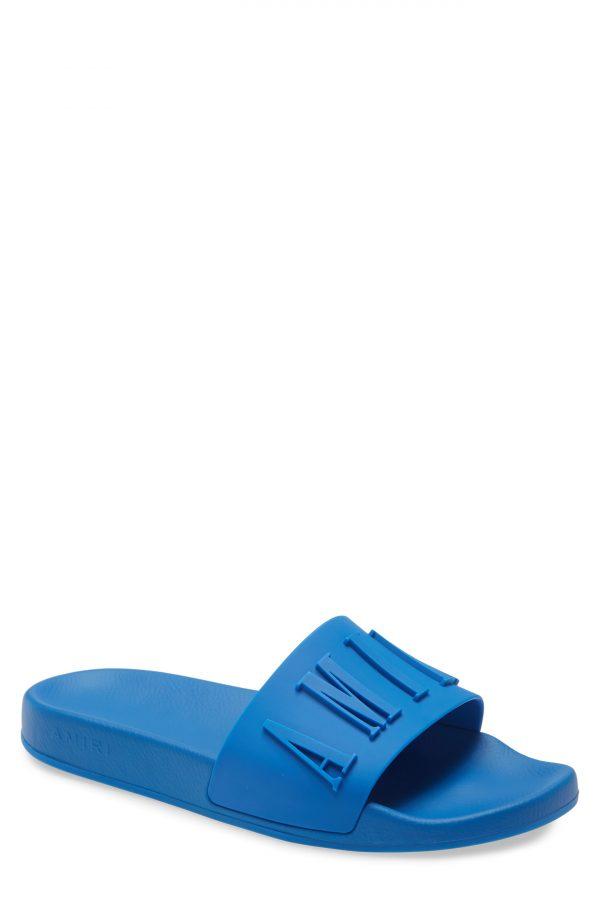 Men's Amiri Logo Pool Slide Sandal, Size 7US - Blue