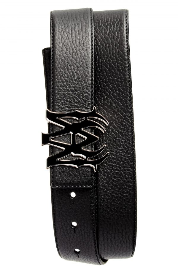 Men's Amiri M.a. Logo Buckle Leather Belt, Size 90 - Black