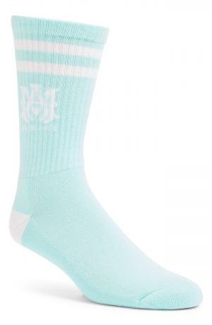 Men's Amiri M.a. Logo Rib Athletic Crew Socks, Size 12-13 - Green