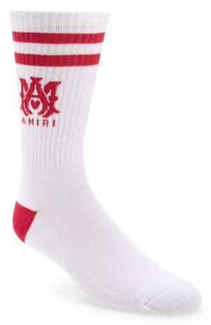 Men's Amiri M.a. Logo Rib Athletic Crew Socks, Size 12-13 - White