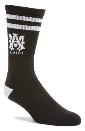 Men's Amiri M.a. Logo Rib Athletic Crew Socks, Size 8-9 - Black