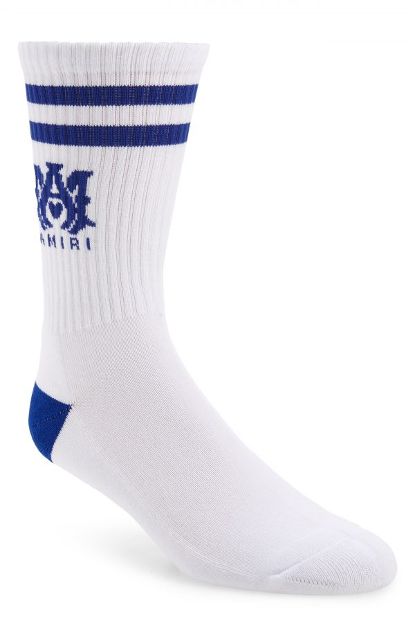 Men's Amiri M.a. Logo Rib Athletic Crew Socks, Size 8-9 - White