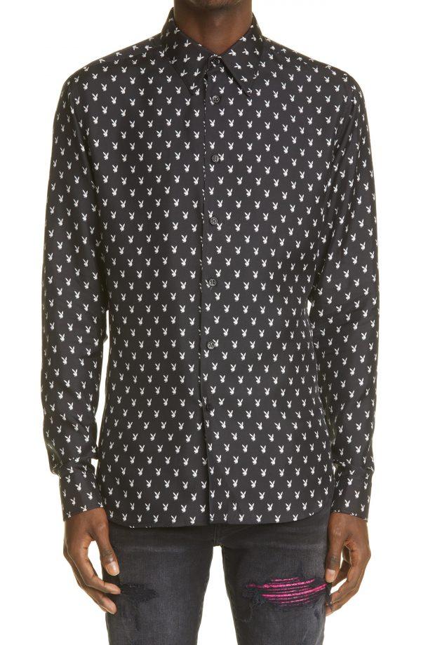 Men's Amiri Micro Playboy Bunny Logo Long Sleeve Silk Button-Up Shirt, Size Small - Black
