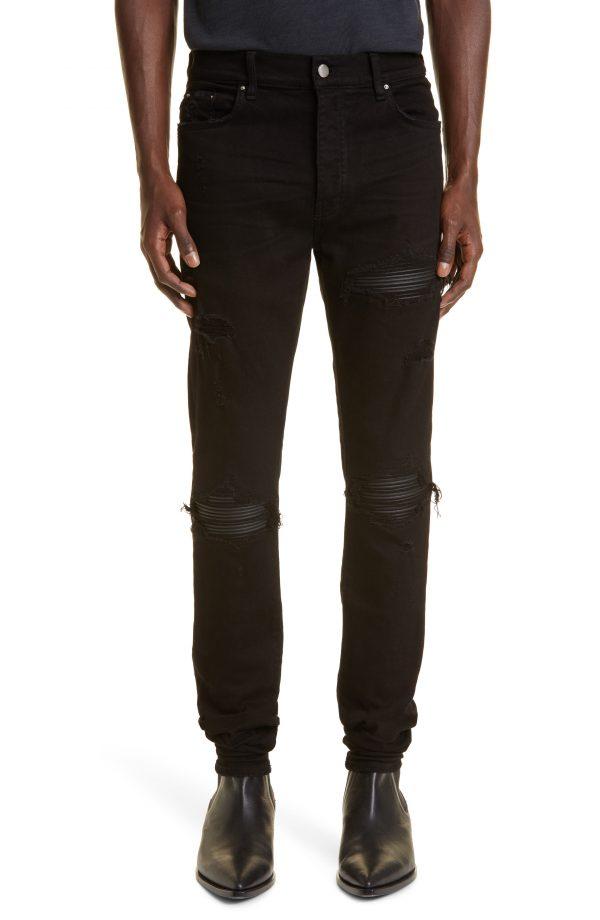 Men's Amiri Mx1 Ripped Jeans, Size 30 - Black