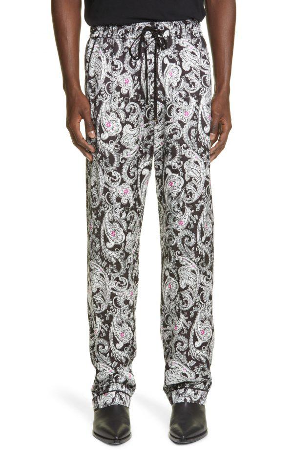 Men's Amiri Paisley Print Pajama Pants, Size Small - Black