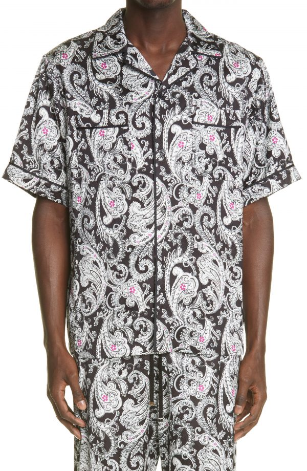Men's Amiri Paisley Print Pajama Shirt, Size Small - Black