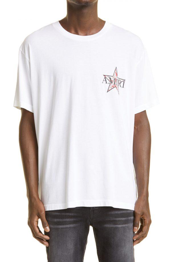 Men's Amiri Paisley Star Logo Graphic Tee, Size Medium - White