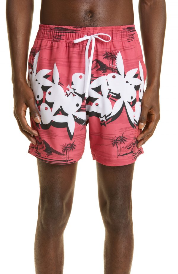 Men's Amiri Playboy Aloha Swim Trunks, Size Small - Red