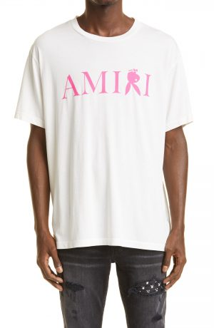 Men's Amiri Playboy Bunny Logo Graphic Tee, Size Medium - White