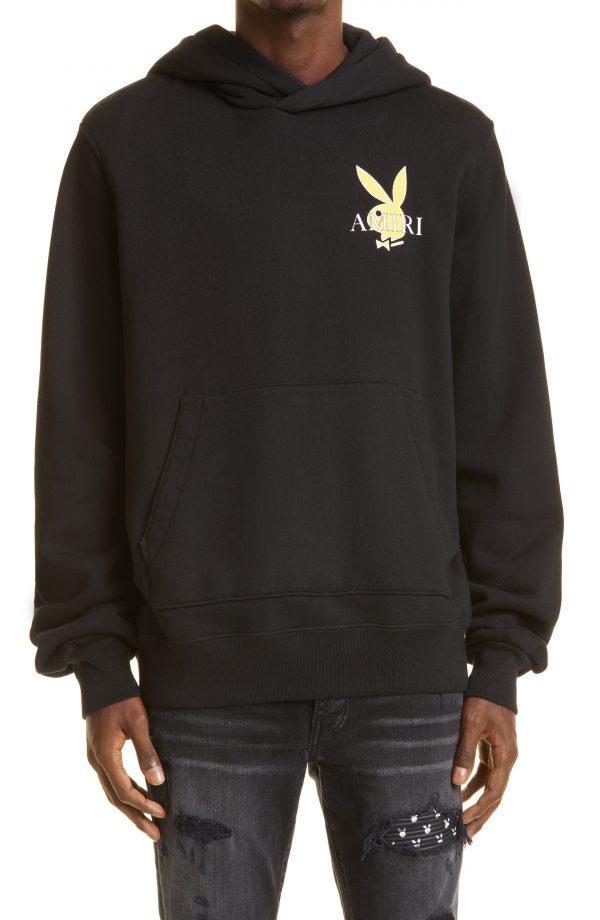Men's Amiri Playboy Bunny Logo Hoodie, Size Large - Black