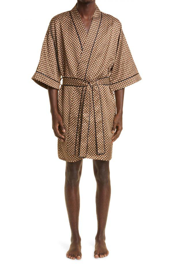 Men's Amiri Poker Chip Robe, Size Small - Brown