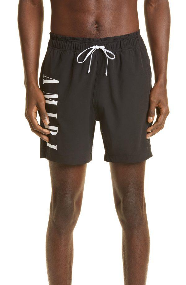 Men's Amiri Vertical Logo Swim Trunks, Size Large - Black