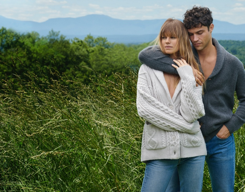 Nadine Leopold and Miles McMillan model cable-knit and ribbed cardigan sweaters for NAKEDCASHMERE's fall 2021 campaign.