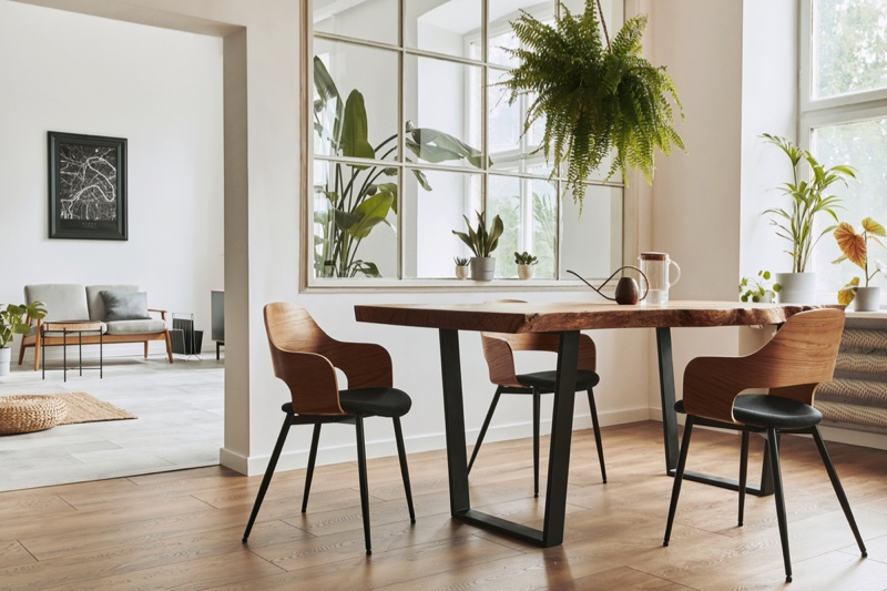 Natural Light Kitchen Wooden Chairs Modern Table