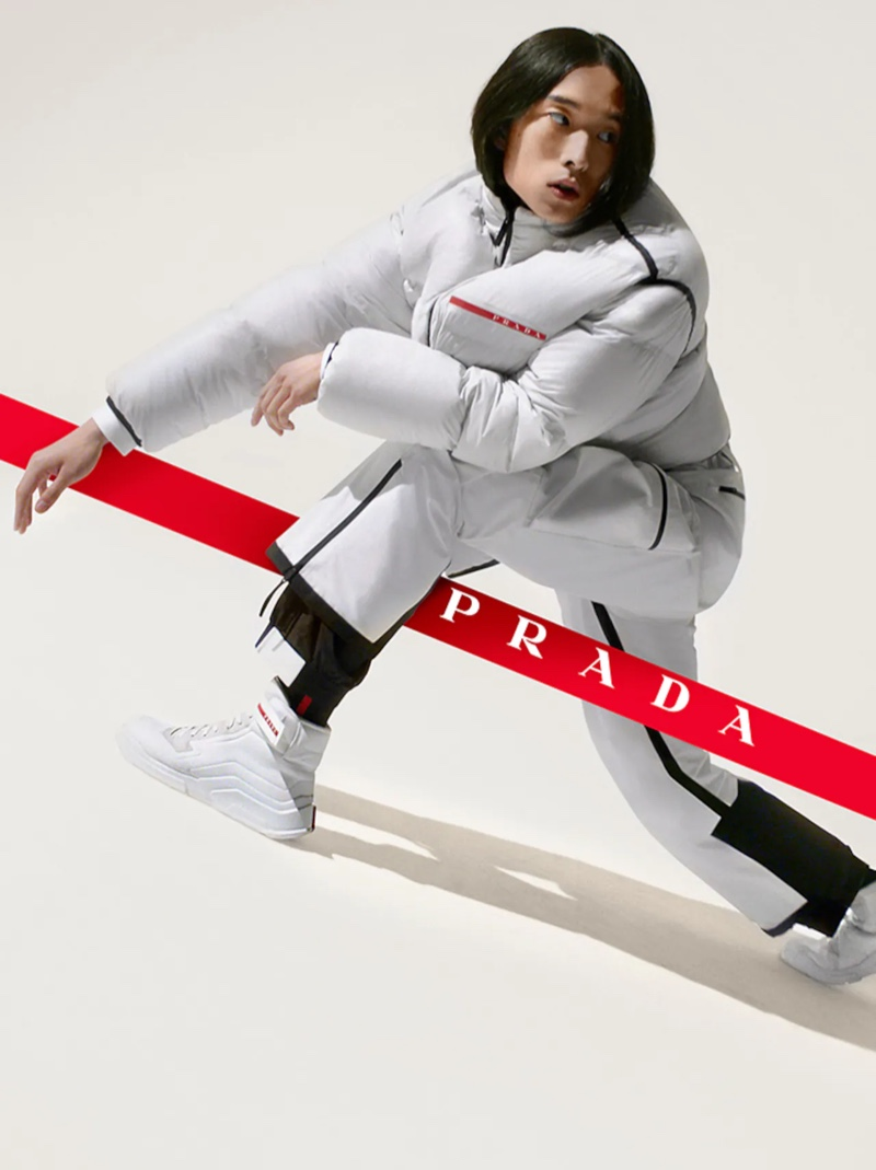 June (Tomorrow is Another Day) appears in the Prada Linea Rossa fall-winter 2021 campaign.
