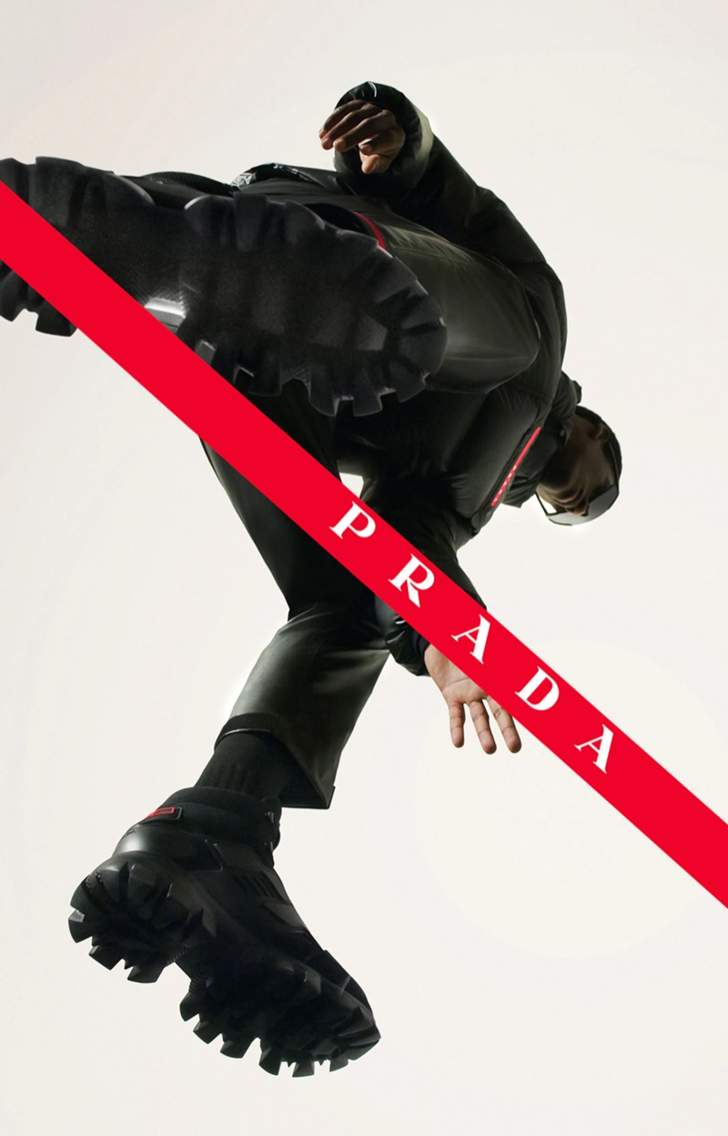 Prada Linea Rossa enlists model Claudio Goncalves to front its fall-winter 2021 campaign.