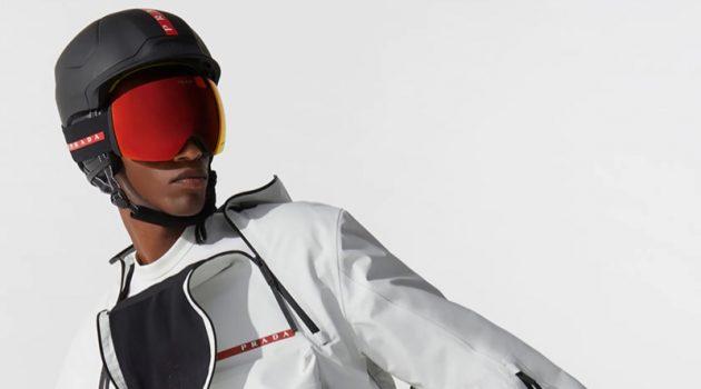 Ready for ski season, Claudio Goncalves fronts the Prada Linea Rossa fall-winter 2021 campaign.