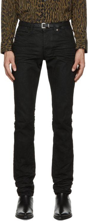 Saint Laurent Black Oily Coated Slim-Fit Jeans