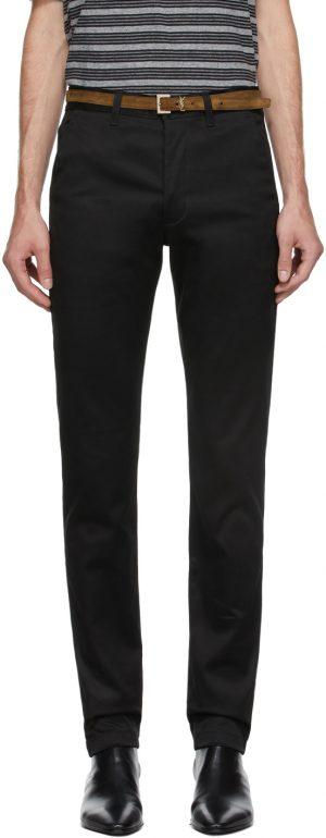 Saint Laurent Black Raw Chino Trousers