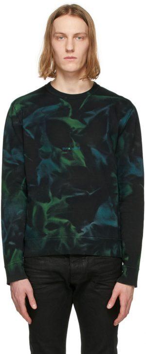 Saint Laurent Black & Green Tie-Dye Rive Gauche Logo Sweatshirt