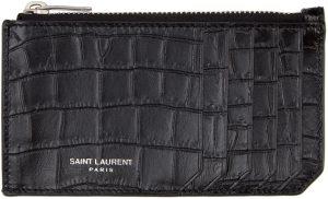 Saint Laurent Black & Silver Croc Fragment Card Holder