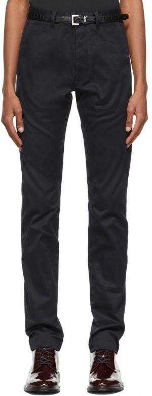 Saint Laurent Navy Gabardine Chino Trousers
