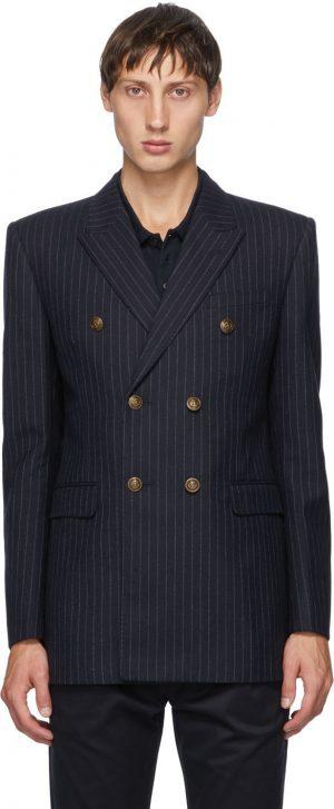 Saint Laurent Navy Pinstripe Wool Blazer