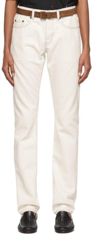 Saint Laurent Off-White Slim-Fit Jeans