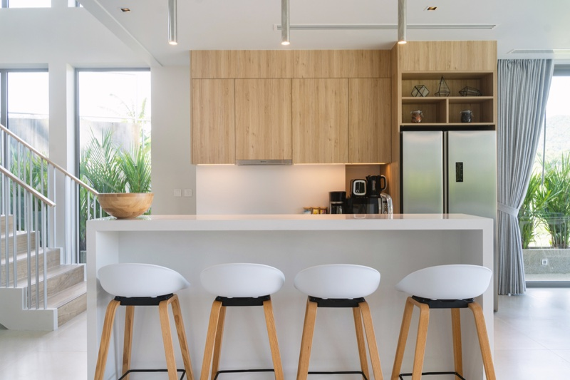 White Kitchen Round Stools